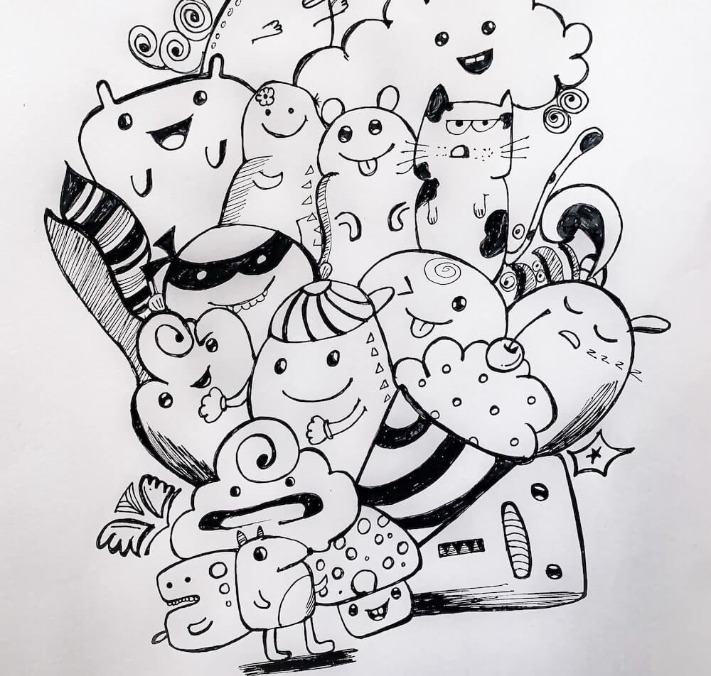 start an art journal doodle