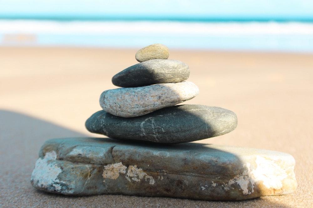 stone sculpture on beach