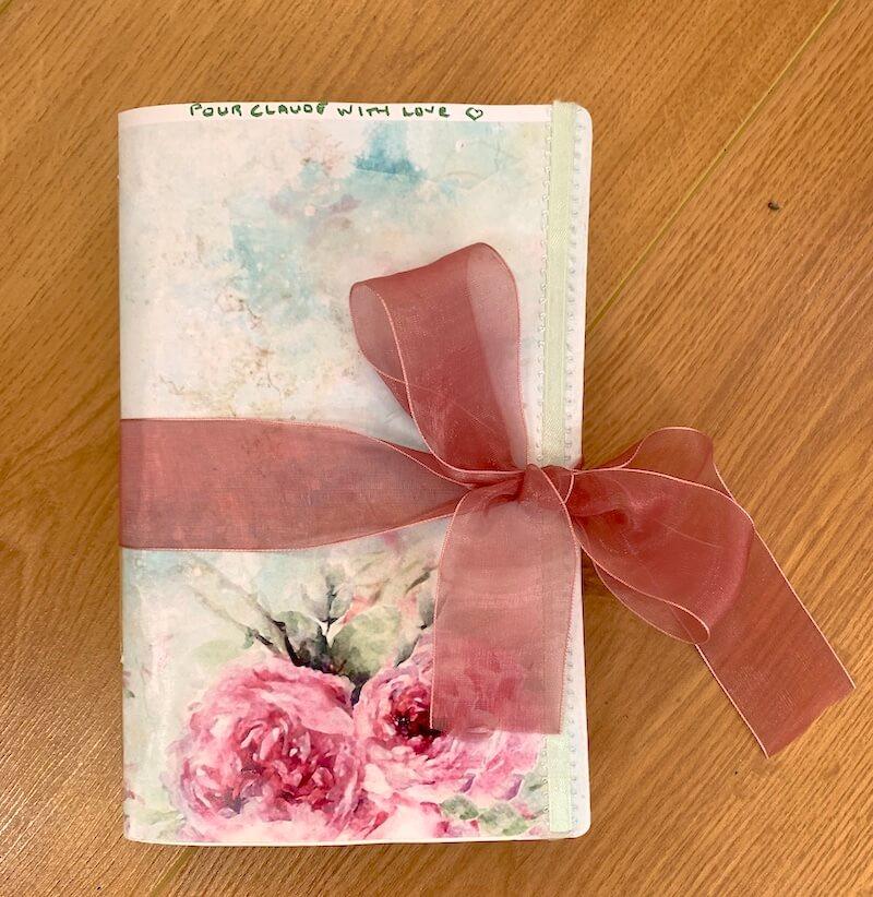 Notebook pink ribbon handmade
